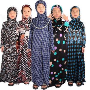 Islamic Clothing Girls Abaya Hijab Muslim Prayer Dress Kids Kaftans Ramadan Robe