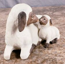 Homco Sheep Lamb 1471 Mother Baby Porcelain Figure 7 Inch Nativity Country