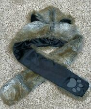 Animal Hood Faux Fur Hat With Scarf Mittens Ears & Paws 3 in 1 Warm Hat WOLF