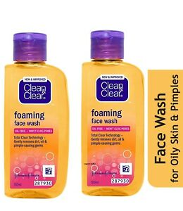 2x Clean & Clear Foaming Face Wash Oil Free Wont Clog Pores Removes Dirt 50ml