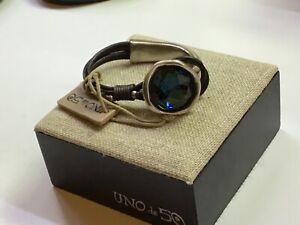"""NWT Uno de 50 Leather/Silver-plated Bracelet w Swarovski Crystal """"Oh my Goodness"""