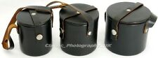 SET of 3 Leather Lens Cases by ZEISS / Pentacon DDR for Pancolar FLEKTOGON etc.