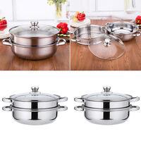2 Tier Stainless Steel Steamer INDUCTION friendly Cookware 27.5cm Saucepan Pot D