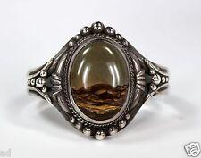 Vintage Old Pawn Sterling Silver Cuff Bracelet w Picture Jasper