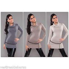 Miniabito Long Pullover Donna Vestitino Vestito Abito Cashmere ISF A720 Tg L/XL