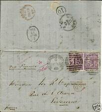 GB LETTER 1869 NEWCASTLE-LEVOURNE PAIR SG109 PLATE 8