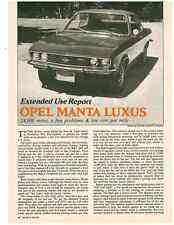 1975 OPEL MANTA LUXUS  ~  NICE 3-PAGE ORIGINAL EXTENDED USE ARTICLE / AD