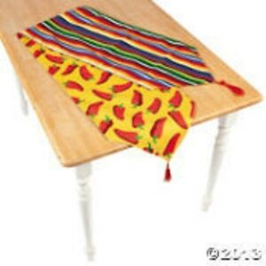 Fiesta Reversible Table Runner Hot Red Chilies Colorful Stripes Home Linen