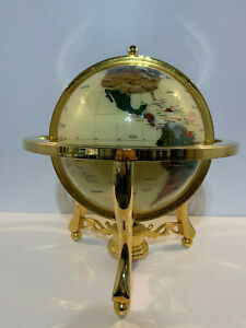 Stone & Mineral Inlay Inlaid Large World Globe on Brass Stand w/ Compass on Base