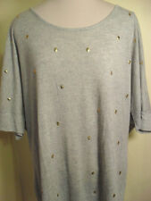 Lane Bryant lighter grey skull studded  wedge top exposed back zipper size 18/20