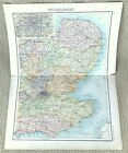 Antique Map of England London Kent Suffolk Cambridge Surrey Hertford Essex 1893