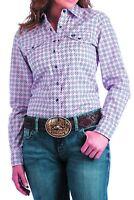 Cinch Women's Pink & Navy Medallion  Snap Up Western Shirt MSW9200026