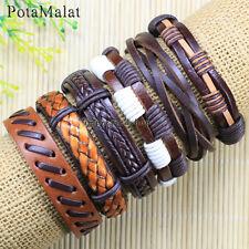PotaMalat 6pcs Men's Women's Genuine Handmade Leather Bracelet Braided Rope-D37