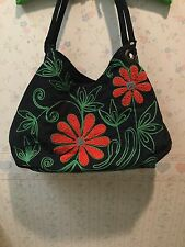 Bamboo 54 Embroidered Hobo Bag - Black Red Green Floral