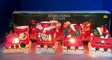 INTERNATIONAL BAZAAR~4 Piece Porcelain LIGHTED SANTA Toys CHRISTMAS TRAIN SET
