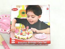 Children Kids Wooden Playhouse Game Toy Cutting Cut and Play Birthday Cake Set