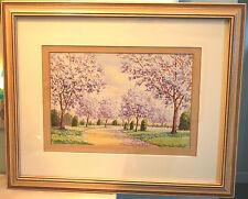 NEW FARM PARK Signed 1944 Artist HC SIMPSON ORIGINAL WATERCOLOR PAINTING Framed