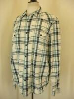 Men's sz XL Lucky Brand Western Shirt Long Sleeve Plaid Cotton Black Green Ivory