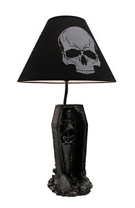 Zeckos The Gloaming Skeleton in a Coffin Table Lamp and Fabric Skull Shade