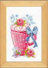 Pink latte cup & fleurs: vervaco counted cross stitch kit-PN0143921