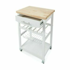 Wooden Kitchen Utility Trolley Cart Drawer 2 Shelves Cabinet Rack White New 2021