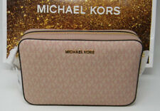 New Michael Kors Signature Ballet Pink Leather East West Crossbody Purse $248