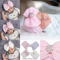 Baby Newborn Toddler Bowknot Hats Girl Boy Infant Soft Cute Head Wrap Beanie Cap