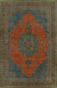 Antique Overdyed Tebriz Floral Area Rug Evenly Low Pile Oriental Handmade 9'x12'