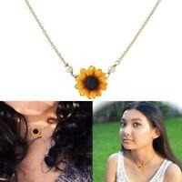 Girasol colgante collar de cadena mujeres simples perlas princesa collares