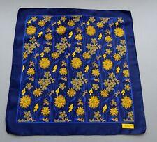 Auth Lanvin Paris Satin Silk Pocket Square Handkerchief Blue Gold w/Floral Print