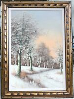 Original Painting Vintage Oil on Canvas Winter Landscape Forest Trail by REMSEN