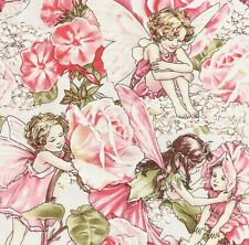 Cicely Mary Barker Flower Fairy Fairies Characters Roses on Pink Fabric - FQ