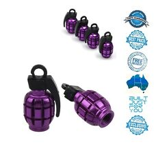PURPLE 4 x Grenade Car Truck Bike Tyre Tire Valve Stem Caps Covers Accessories