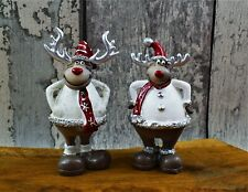 Rentiere Set weiß H 11cm Hirsch Weihnachtsdeko Dekoration Tischdeko Schal Winter