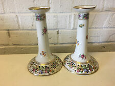 Vtg Carl Schumann German Pierced Porcelain Pair Candlesticks Holders Floral Dec.