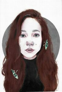 original drawing 20,5 x 30,5 cm 47YkV art Mixed Media modern female portrait