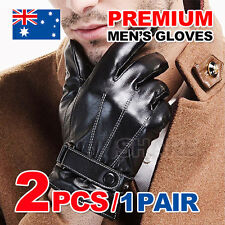Black Men Boy Winter Warm Full Finger Driving Working Touch Screen Leather Glove