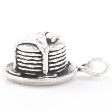 PANCAKES Charm Pendant BUTTER & SYRUP Cook Food 925 Sterling Silver 3D