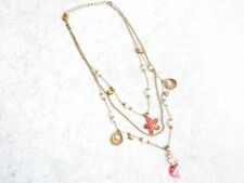 Betsey Johnson Multilayer Necklace Vintage Mermaid Starfish Nautical Gold Tone