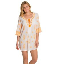 90fd16e77124 TRINA TURK WHITE ORANGE PLAYA DEL RAY BEACH COVER UP TUNIC TOP SIZE XS