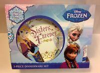 Disney Frozen Sisters Forever Dinnerware Gift Set Elsa Anna Plate Bowl Mug New