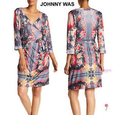 NWT Johnny Was Boho Artsy Faux Wrap Floral Belted Tunic Dress L Large $248