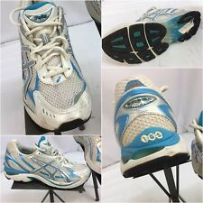 Asics Gel GT 2150 Sz 10 Women White Blue Running Shoes EUC YGI G7