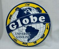 VINTAGE GLOBE PORCELAIN SIGN GAS MOTOR OIL METAL SERVICE STATION PUMP RARE AD