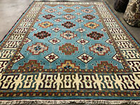 7x10 BLUE WOOL RUG HAND-KNOTTED handmade geometric handwoven 6x9 tribal carpet