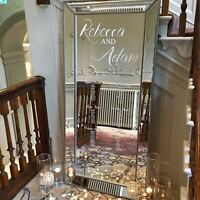 Hire Personalised LARGE Mirror Table Plan! Weddings Silver Beaded