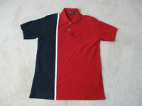 VINTAGE Nautica Polo Shirt Adult Small Red Blue Sailing Color Block Mens 90s *
