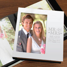 Personalised 6 X 4 Mr and Mrs Aluminium Silver Photo Album Wedding Day Gift