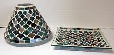 Yankee Candle Jar Shade Tray Holder FRESH OCEAN Teals Blues Greens Set of 2 pcs
