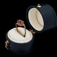 Antique Vintage Art Nouveau 14k Yellow Gold Oval Pink Tourmaline Band Ring Sz 5